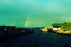 Ballintoy (irish_elk) Tags: ireland coast rainbow lomography harbour north giants boathouse northern causeway portrush ballintoy