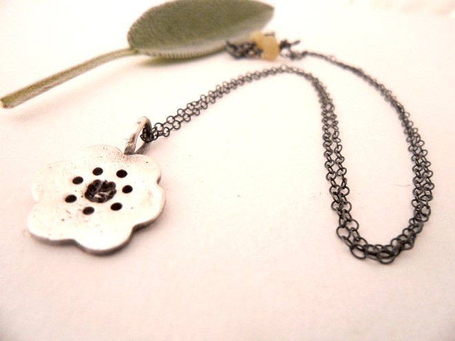 Japanese Sakura Blossom Necklace, Fine Silver, Sterling Silver Chain