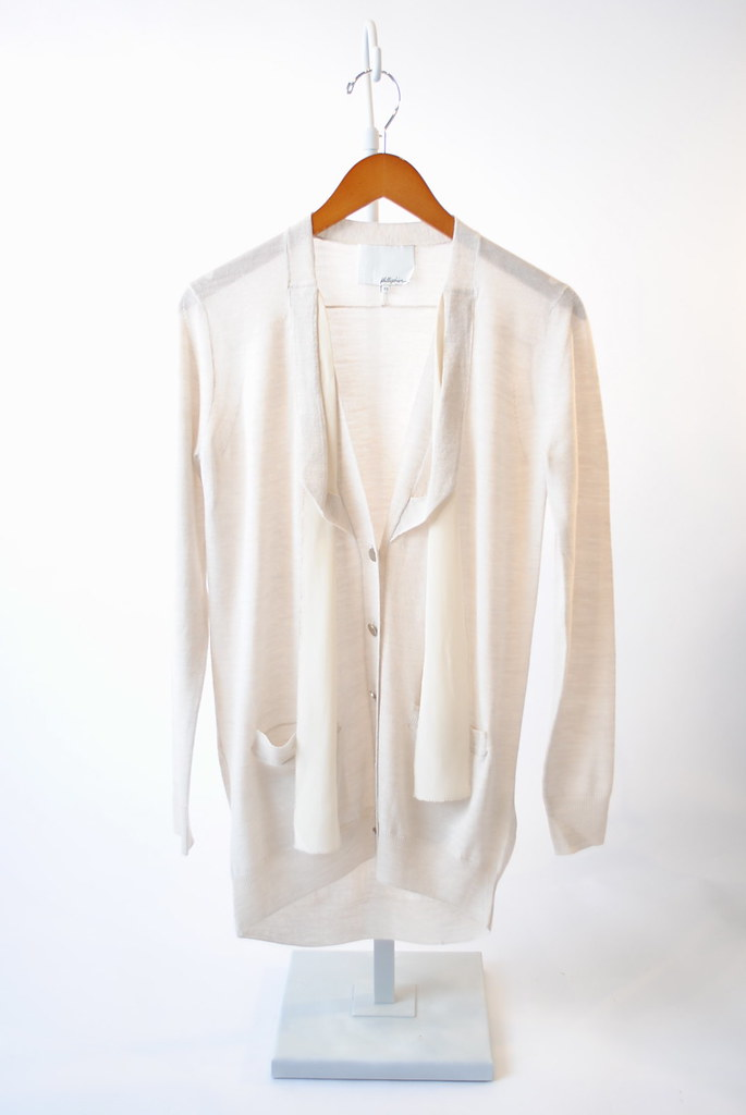 Silk Trim Merino Wool Cardigan