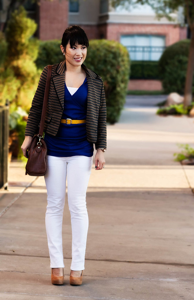 forever 21 striped blazer jacket, express ruched blue top, delias morgan white skinny jeans, bakers wild pair karen wp taupe pumps, gap yellow python belt, tjmaxx vieta lucille buckle satchel, forever 21 faceted bead drop gold cluster earrings, petite fashion challenge, vacation fashion