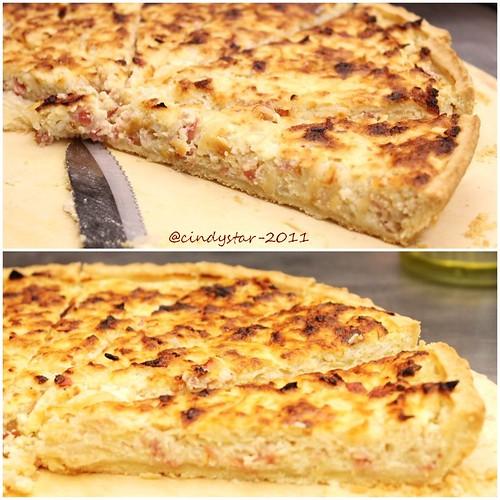 crostata salata cipolle pancetta affumicata