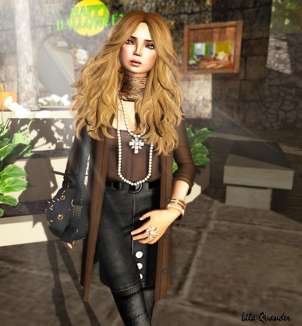 The Secret Store - Pencil Skirt - Charcoal &  Puffy Blouse - Chocolate (Close)