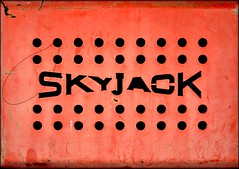 skyjack2. (swindlehorne) Tags: old sky weather work out jack wire rust cut platform scratches aerial grill used weathered corrosion perforated scuff scrape skyjack