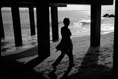 a walk on the beach, 3 (Barry Yanowitz) Tags: nyc newyorkcity blackandwhite bw ny newyork film beach brooklyn coneyisland pier blackwhite sand kodak trix d76 35mmfilm scanned boardwalk filmcamera nycity leicam6 selfdeveloped 718 kodaktrix400 coneyislandpier steeplechasepier selfdeveloping d76developer