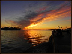 'Last sunrise' for the battleship USS Iowa... (Konabish ~ Greg Bishop) Tags: battleship usnavy usn warship mothballfleet ghostfleet tractortug marad bb61 fossmaritime crowleymaritime tugboatamerica pacificbattleshipcenter ussiowatowoct27282011 tugboattow tugboatgoliah tugboatdeltabelle
