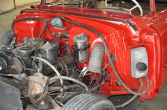 "1956 Series 62 Red Convertible Cadillac restoration • <a style=""font-size:0.8em;"" href=""http://www.flickr.com/photos/85572005@N00/6303514440/"" target=""_blank"">View on Flickr</a>"