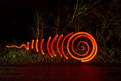 Red Cathode Spiral With Tail (- Hob -) Tags: red lightpainting spiral raw cathode longexposre singleexposure lightjunkies