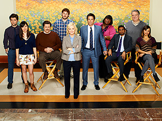 Group wide shot of the cast of Parks and Rec: It's not the end of the world as they know it, and they feel mostly fine.