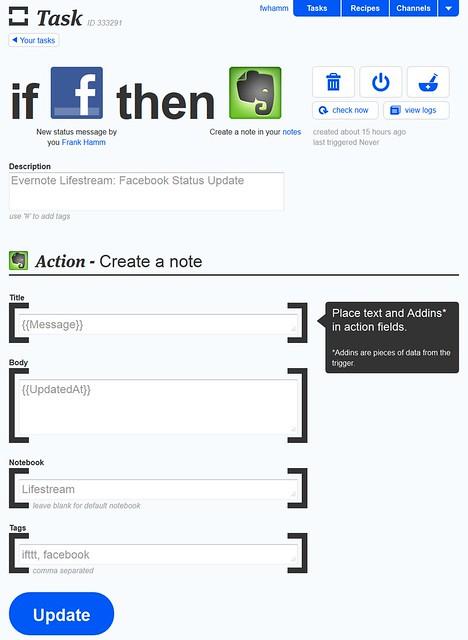 Mit ifttt den Social Media Lifestream in Evernote archivieren