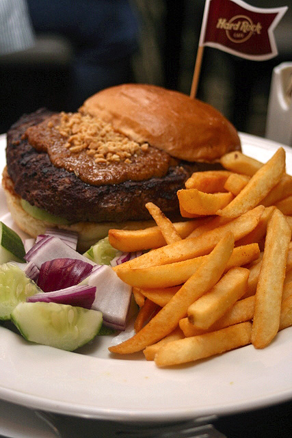 The Singapore Satay Burger served with cucumber, onions and fries