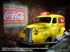 1939 Coca-Cola Chevrolet truck from Argentina at the World of Coca-Cola () Tags: atlanta chevrolet argentina sign yellow truck vintage georgia cola painted coke chevy restored cocacola coca 1939 worldofcocacola deliciosa refrescante bienfria tomecocacola