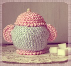 Sucrier au crochet (couleurs bonbons) Tags: pink blue handmade pastel crochet sugar sucre sucrier serialcrocheteuses