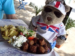 KefTEDes for you know who (pefkosmad) Tags: salad village hellas chips greece homemade teddybear greekislands rhodes meatballs tzatziki dodecanese rodhos keftedes kattavia tedricstudmuffin