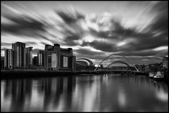 Newcastle/Gateshead Quayside Mono LE (Phil 'the link' Whittaker (gizto29)) Tags: longexposure cloud newcastle movement gateshead tynebridge swingbridge quayside thesage highlevelbridge thebaltic tyneriver sigma1020 leefilters 09softgrad hitechpro10stop turnerartprize