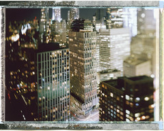 tribeca (andrew c mace) Tags: nyc newyorkcity longexposure roof film rooftop skyline night analog cityscape manhattan failure aerial swing brooklynbridge instant 4x5 tribeca largeformat lowermanhattan schneider 150mm v700 reciprocity fujifp100c45 aposymmarl