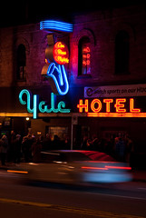 The Yale (Moe W) Tags: people music canada motion blur car vancouver reflections nikon neon bc famous blues legendary yaletown d200 dslr venue rhythm granvillestreet lineup yalehotel mauricewoodworth livebluesnightly wwwtheyaleca