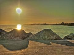 Sunset seen from Puerto Banus pier (Olli365) Tags: sunset sea puerto pier rocks hdr banus tonemapped marbelle
