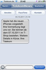 Vormerkung Apple iPhone 4S: TelekomNews zum Premieren-Ticket der Deutschen Telekom
