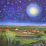 """<b>Night View of Campus from Hwy 52</b><br/> Eckheart (Professor Emeritus of Art) (Oil on canvas, 2010)<a href=""""http://farm7.static.flickr.com/6220/6214276275_dfa448bc5f_o.jpg"""" title=""""High res"""">∝</a>"""