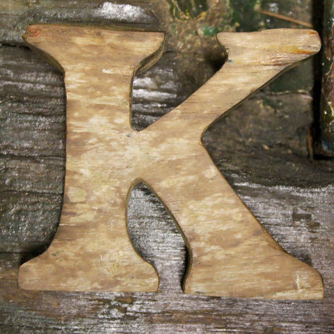 Letter K Beach Decor Vintage Nautical Wooden by SEASTYLE
