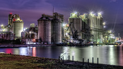 cement plant of night (hiro_sj30) Tags: plant japan industrial factory pentax cement hdr chemical kitakyushu photomatix technoscape