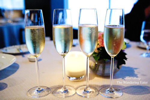 Our glasses of Bollinger Champagne, lined up
