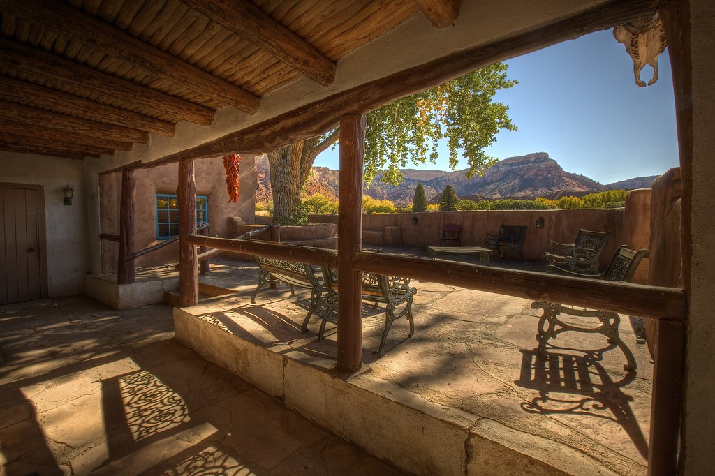 Ghost House Patio with Skull and Chili's at Ghost Ranch