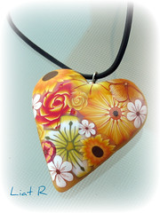 Polymer clay Heart (Liat R) Tags: flowers ladies orange flower color colour art love colors yellow cane fun israel necklace beads colorful heart handmade craft bijoux polymerclay fimo creation clay canes etsy picnik pendant liat pendants polymer millefiori premo millifiori jewelrey liatr