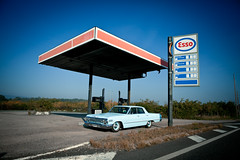 (Simon's Brain) Tags: old blue urban chevrolet car station 60s yeah blu low voiture gas ruine american impala exploration objet rider esso ruined 1963 urbex friche amricaine rn6 pompeessence wwwsimontremblayfr tiragea320120120