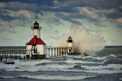 """""""Fall Fury' St. Joseph Lighthouse, St.  Joseph , Michigan"""