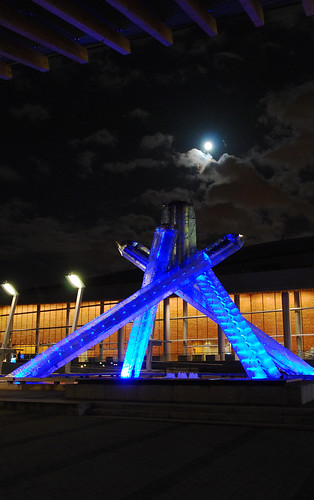 Vancouver Olympic cauldron and the moon - #284/365 by PJMixer