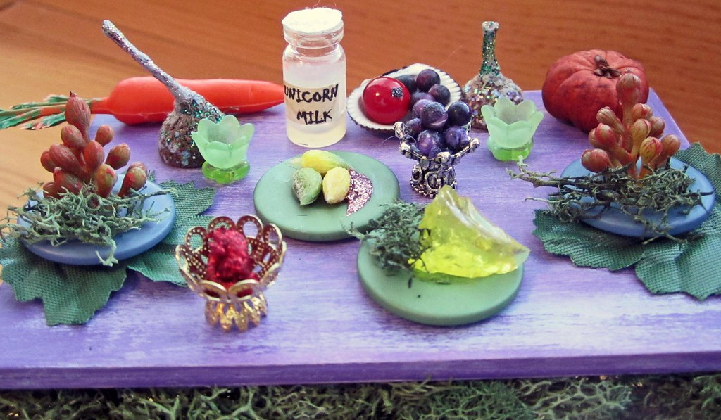 Miniature Festive Fairy Feast Table Overflowing With Delicious Fairy Foods and Two Fairy Flower Stools~1:12thScale