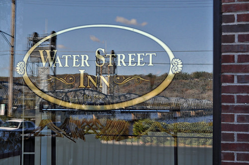 Reflection of Stillwater Lift Bridge on Window at Water Street Inn