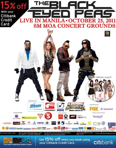 Black Eyed Peas LIVE in Manila concert - Get discounts using your Citibank Credit Card