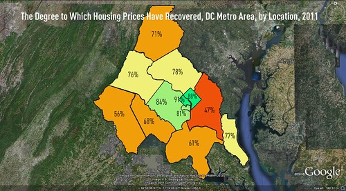 Housing recovery by jurisdiction, DC metro (underlying satellite map via Google Earth, markings by me)