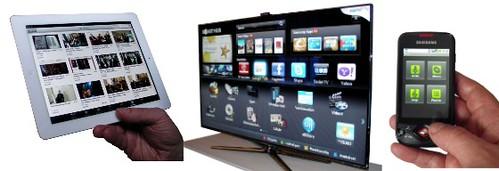 Kolme medialaitetta: iPad-tablet, Samsung Smart TV ja älypuhelin