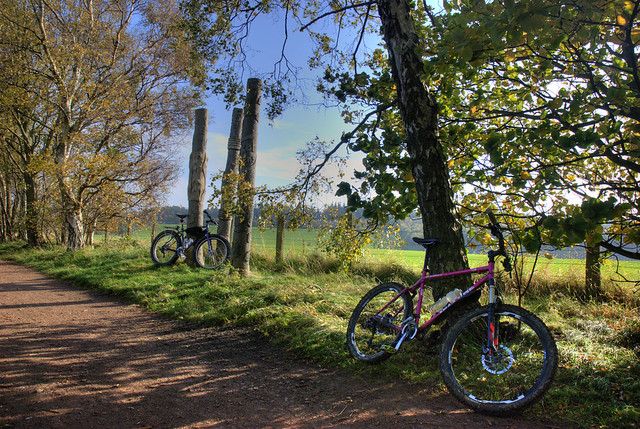 Bikes and totem poles.