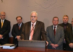 Rep. Betts speaks during a press conference he held along with State Senator Jason Welch to call on the Governor and legislature to provide mandate relief to our towns and cities