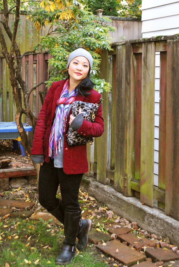Fall Outfit - Burgundy Corduroy Blazer - Royal Blue Top - Gray Cardigan - Black Pants - Tall Aldo Boots - Ikat Scarf - Knit Hat - Leopard Print Marc Jacobs Clutch