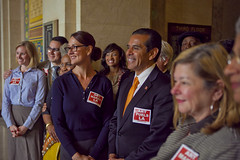 "Nonprofit Day LA.  Mayor Villaraigosa sports an ""ART FUELS LA"" sticker."