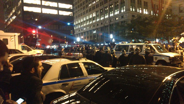 More police lining up at Zuccotti #ows #occupywallstreet