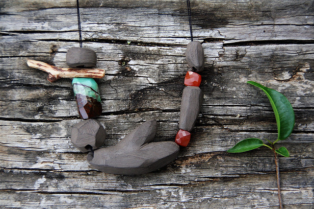 Growth - ceramic necklace with gemstones
