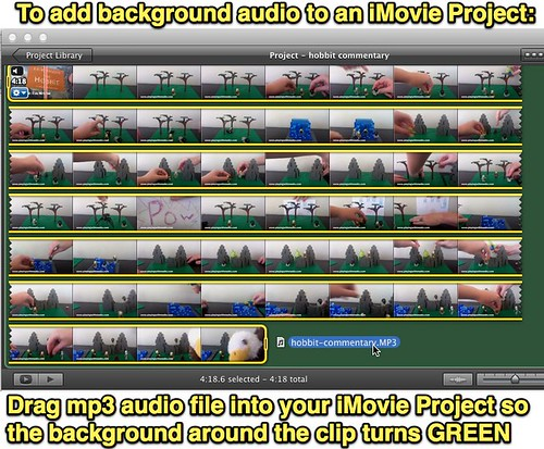 To add background audio to an iMovie Project
