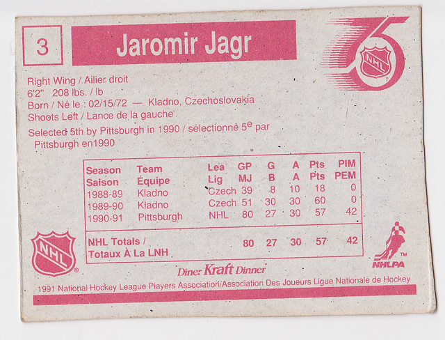 Kraft Dinner - Jaromir Jagr - Back