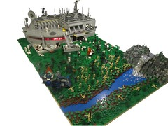 Defending Outpost A.76-4R (TMM) Tags: water river army fire star waterfall rocks lego battle sw wars clone epic naboo droid outpost tmm moc