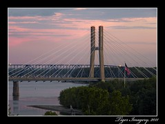 River Bridges at Sunset (Tiger Imagery) Tags: bridge sunset river illinois bridges mississippiriver