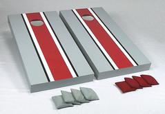 Gray & Scarlet Matching Stripe Cornhole Boards