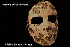 behind that mask... (Wendy J. Bush) Tags: silver pieces mask plaster puzzle behind dalilama everythingyouarelookingforisbehindthatmaskyouwear