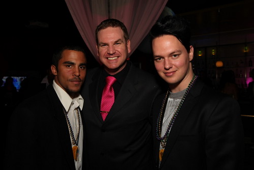 Event promoter, Phil Jones (center); poses with rapper SnowFlake Black (left), and singer, Kyle Whitney
