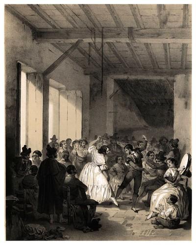 007-Un baile de gitanos-España artística y monumental.. Tomo I-1842-1850-Genaro Perez de Villa-Amil